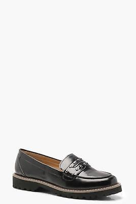 Boohoo Womens Daisy Cleated Chunky Sole Stud Loafers