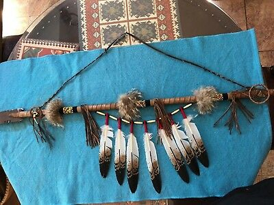 "Lakota Sioux Indian Spear With Metal Tip by Verne Little 52"" Real-Traditional"