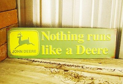"John Deere Nothing Runs Like 16"" Metal Tin Sign Vintage Style Farm Tractor Barn"