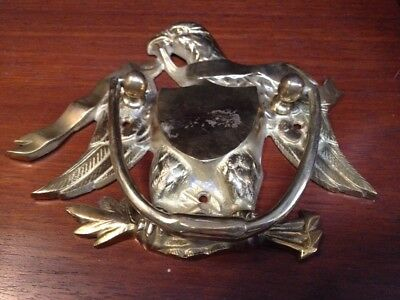 Vintage Brass Bald Eagle Antique Gold Door Knocker Wings Wide