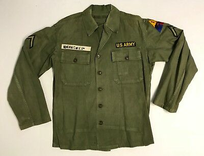 Original Post WWII US Army HBT Fatigue Shirt w/1st Armored Division Patch