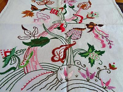 Beautiful Hand Embroidered 'tree Of Life' Crewel Work Panel Worked On Linen