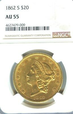 1862 S $20 Gold Piece Double Eagle NGC AU 55 Low Population Scarce This Nice