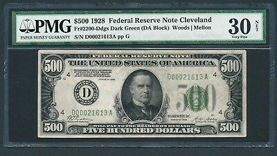 1928 $500 Dollar Bill Scarce Cleveland Redeemable In Gold Note Money PMG VF 30