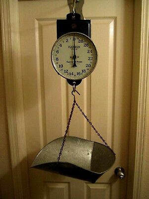 RARE 1920-30's DOUBLE DIAL  HANSON CHICAGO HANGING MARKET SCALE WITH SCOOP