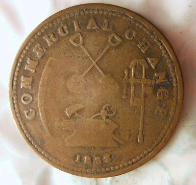 1833 UPPER CANADA PROVINCE 1/2 PENNY - COMMERCIAL CHANGE + VERY RARE - Lot #918