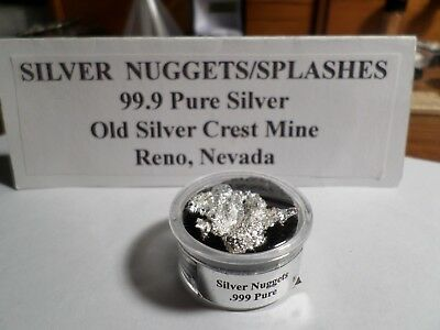 PURE NEVADA SILVER  CRYSTALLINE NUGGETS/SPLASHES 6.236 Grams Total