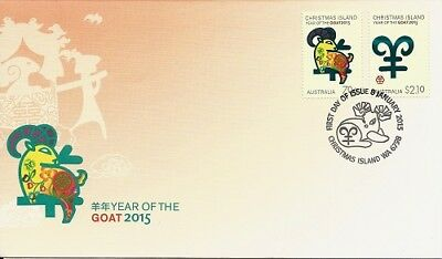 2015 Christmas Island - Year of the Goat First Day Cover FDI