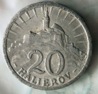 1942 SLOVAKIA 20 HALEIROV - Scarce WW2 Nazi Government Coin  - Lot #918