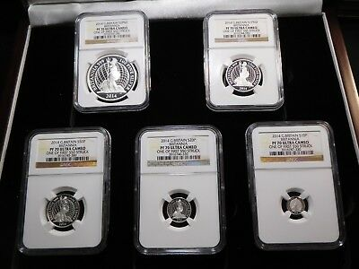 T26 Great Britain 2014 5-Coin Silver Proof Set NGC Graded w/ BOX & COA