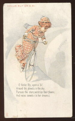 1890S Wilson Biscuit Co. Boston Advertising Trade Card, 'nellie Bly On A Bike'