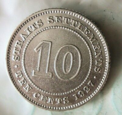 1927 STRAITS SETTLEMENTS 10 CENTS - RARE TYPE - BIG VALUE SILVER Coin -Lot #918