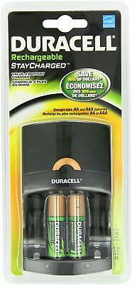 Duracell Value Charger w/ 2 AA Rechargeable Staycharged, Batery Batteries