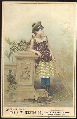 Large 1890S Trade Card, B.w. Skelton Co. Crackers & Candy, Fort Wayne, In.