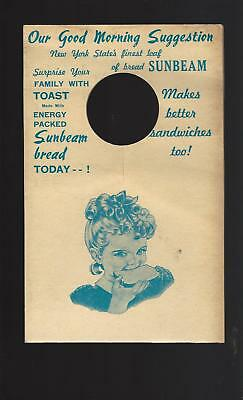 1950's SUNBEAM BREAD Door Hanger New York State Area