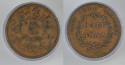 1835 India - British East India Company One Half Anna Copper Coin !! Fabulous !!