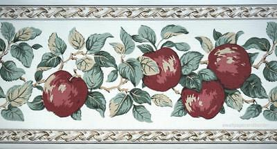 Red Apples Wallpaper Border Green Leave Fruits Primitive Country Kitchen Decor