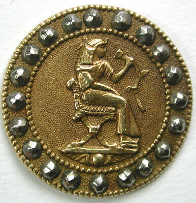"""BB Antique Egyptian Brass Button Seated Cleopatra Holding Flower Design 11/16"""""""