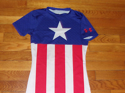 Under Armour Heatgear Captain America Short Sleeve Fitted Jersey Boys Medium Exc