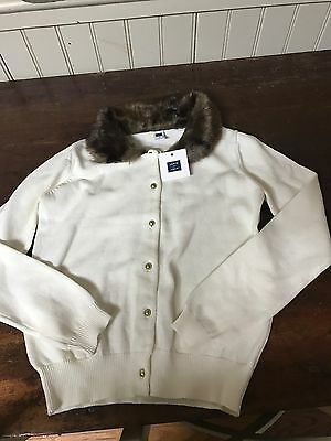 NWT $55 Janie & Jack Faux Brown Fur Collar Cardigan Sweater Ivory Cotton 10 New