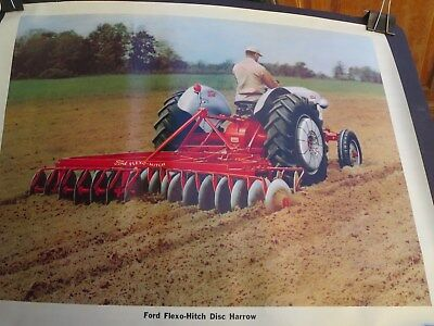 """Vintage 1950 Ford  Farm Tractor Flexo-Hitch Disc Harrow Sales Poster 24"""" by 18"""""""