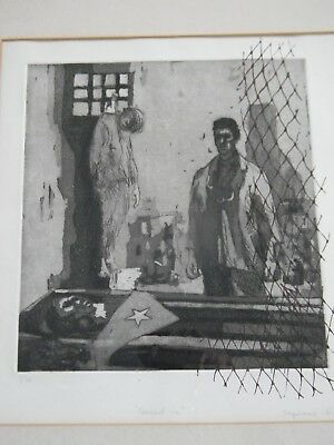 VINTAGE MID CENTURY CUBAN REVOLUTION ART ETCHING by STEPHANIE CANIZARES