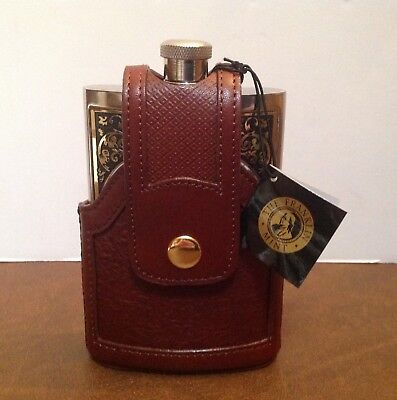 Franklin Mint 10 Point Buck Steel Flask + Leather Case  New No Box