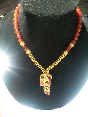 63.6g OF 22k GOLD IN THIS 1 OF A KIND HAND CRAFTED CARNELIAN CAPRICORN NECKLACE