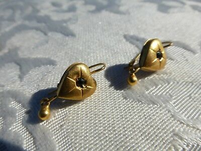 Really WONDERFUL Vintage VICTORIAN Marked 14k Yellow Gold HEART EARRINGS