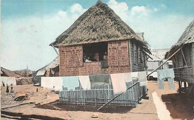 NATIVE HOME LAUNDRY MANILA  PHILIPPINE ISLANDS POSTCARD (c. 1910)