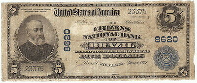 $5 The Citizens NB Of Brazil IN Ch#8620 1902 PB Clay Co Large Size