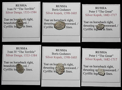 MEDIEVAL. Lot of 3 Hammered Silver Kopek/denga, Russia, all different Tsars