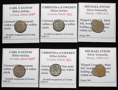 MEDIEVAL. Lot of 3 Silver/Billon coins, Sweden (Livonia) and Venice