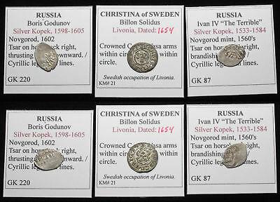 MEDIEVAL. Lot of 3 Silver/Billon coins, Russia and Sweden