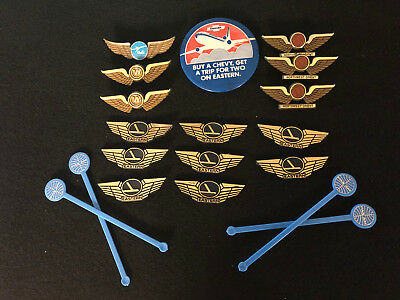 Airline promotional wings, pins, stir sticks lot