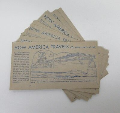 Lot (12) Vintage Nabisco Shredded Wheat How America Travels Trading Cards hj4460