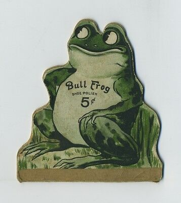 1800s Die Cut Double Fold Advertising Trade Card Bull Frog Shoe Polish NY bv9397