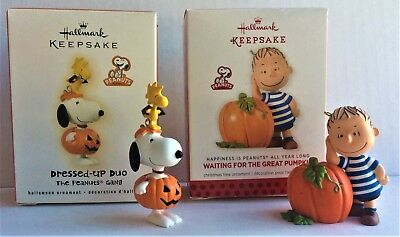 """2 Hallmark Peanuts Halloween  """"Waiting for the Great Pumpkin"""" & """"Dressed-up Duo"""