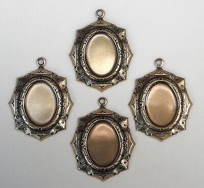 #1595 ANTIQUED GOLD 18X13 OCTAGON BEZEL W/TOP HANG RING - 4 Pc Lot