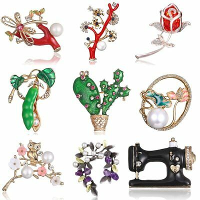 Charm Spring Plants Flower Crystal Pearl Cactus Brooch Pin Womens Jewellery Gift