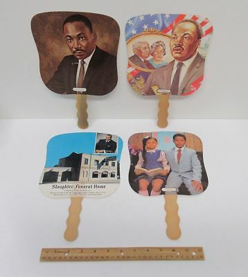 (4) Vintage Black Americana Advertising Fans MLK Jr Decatur GA Chicago IL bv9297