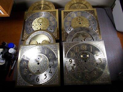 Lot Of 4 Vintage Nos Hermle Triple Chime Grandfather Clock Faces With Lunar Dial