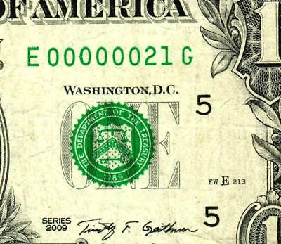 $1 2009:::00000021:::FANCY LOW TWO DIGIT SERIAL NUMBER:::Federal Reserve Note