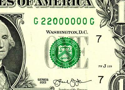 $1 2013::22000000::FANCY BINARY TWO DIGIT SERIAL NUMBER:::Federal Reserve Note