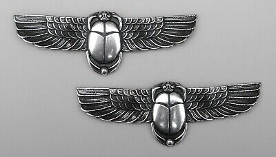 #3490 SMALL ANTIQUED SS/P EGYPTIAN SCARAB BAR - 2 Pc Lot