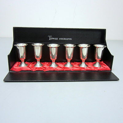Set 6 Vintage Towle Sterling Silver Cordial Footed Cups Goblets Presentation Box
