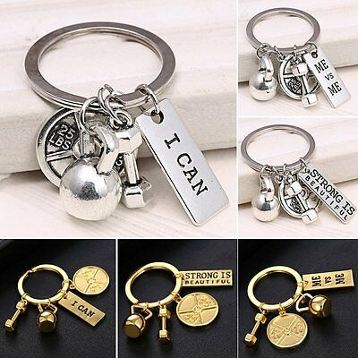 I Can ME vs ME DUMBBELL BARBELL WEIGHT Fitness Gym CROSSFIT Mens Keychain Ring