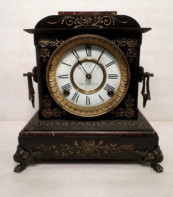 Ansonia Beautifully Designed 1882 Cast Iron Mantle Clock--Por Dial and Handles