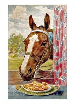 Horse Finds Cookie Window Sill Fabric Quilt Block FrEE ShiPPinG WoRld WiDE (c