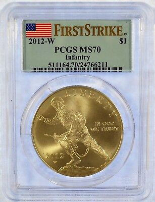 2012-W PCGS MS 70 First Strike Infantry Commemorative Silver Dollar (b394.22)